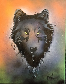 Wolf Pop 4; Spray paint and acrylic pen on stretched canvas, 11 x 14, $50
