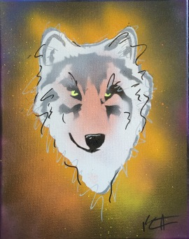 Wolf Pop 5; Spray paint and acrylic pen on stretched canvas, 11 x 14, $50